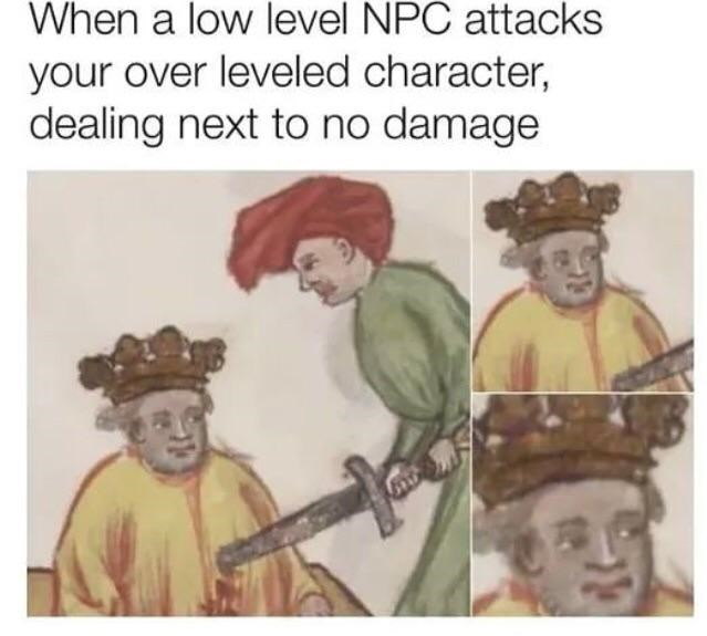meme - Text - When a low level NPC attacks your over leveled character, dealing next to no damage