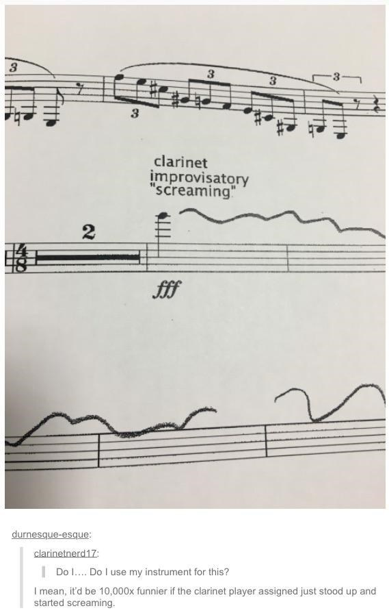 """meme - Text - 3 3 3 clarinet improvisatory """"screaming 2 durnesque-esque: clarinetnerd17 Do I.. Do I use my instrument for this? I mean, it'd be 10,000x funnier if the clarinet player assigned just stood up and started screaming."""
