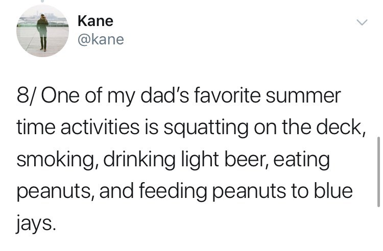 Text - Kane @kane 8/One of my dad's favorite summer time activities is squatting on the deck, smoking, drinking light beer, eating peanuts, and feeding peanuts to blue jays.