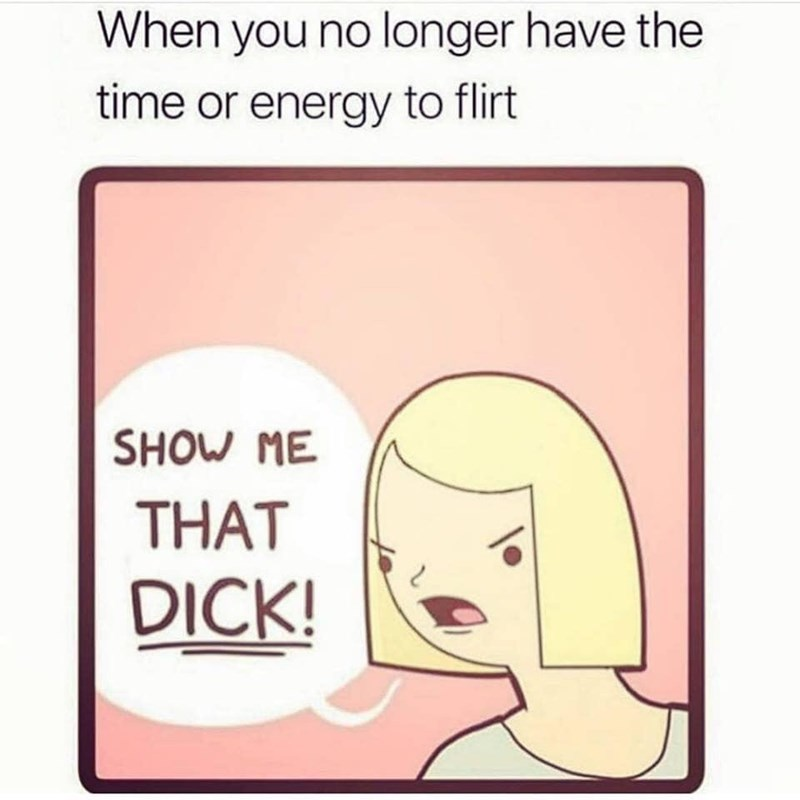 Memes and tweets - Text - When you no longer have the time or energy to flirt SHOW ME THAT DICK!
