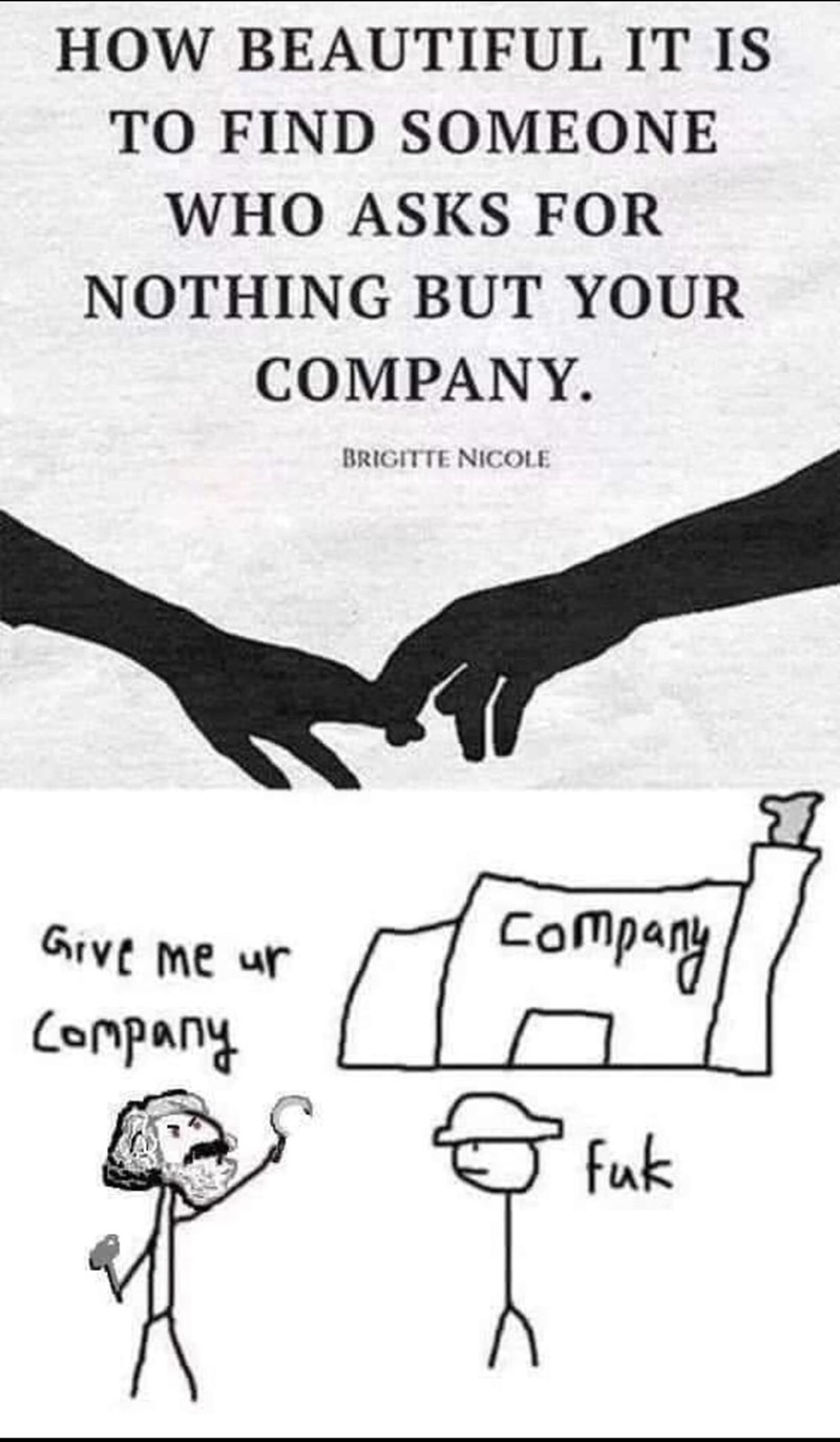Memes and tweets - Text - HOW BEAUTIFUL IT IS TO FIND SOMEONE WHO ASKS FOR NOTHING BUT YOUR COMPANY BRIGITTE NICOLE Compay GIVE me ur Company fuk