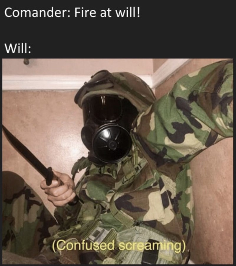 Memes and tweets - Soldier - Comander: Fire at will! Will: (Confused screaming)