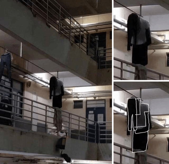 optical illusion hanging clothes that look like a person