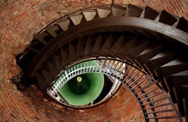 optical illusion bottom of spiral stairway that looks like an eye