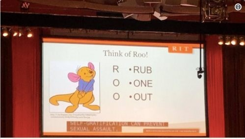 cursed - Text - RIT Think of Roo! R RUB O ONE OUT SELF-GRAT PICATION CAN PREVENT SEXUAL ASSAULT