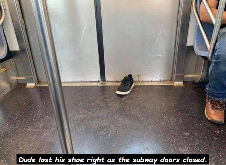 unlucky - Floor - SBCO Dude lost his shoe right as the subway doors closed.