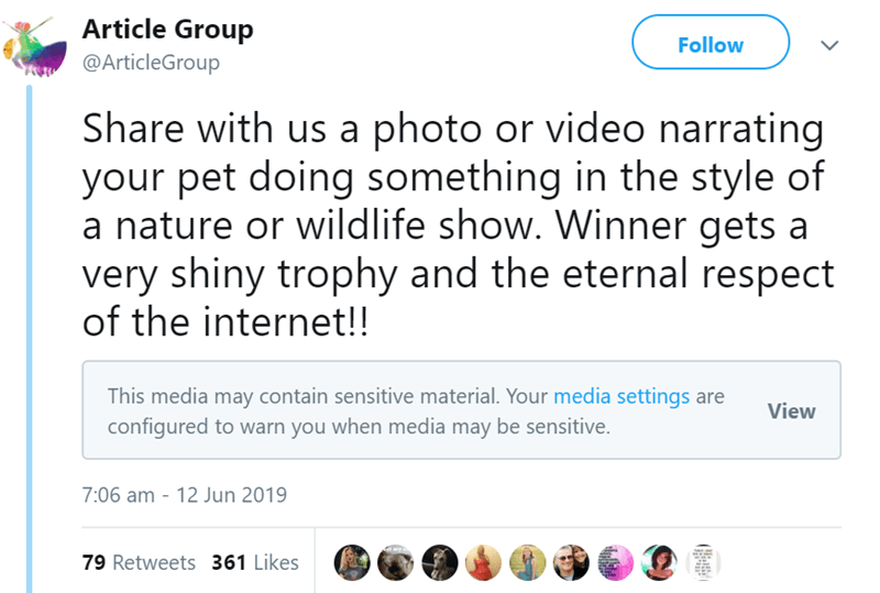 tweet - Text - Article Group Follow @ArticleGroup Share with us a photo or video narrating your pet doing something in the style of a nature or wildlife show. Winner gets a very shiny trophy and the eternal respect of the internet!! This media may contain sensitive material. Your media settings are configured to warn you when media may be sensitive. View 7:06 am - 12 Jun 2019 79 Retweets 361 Likes