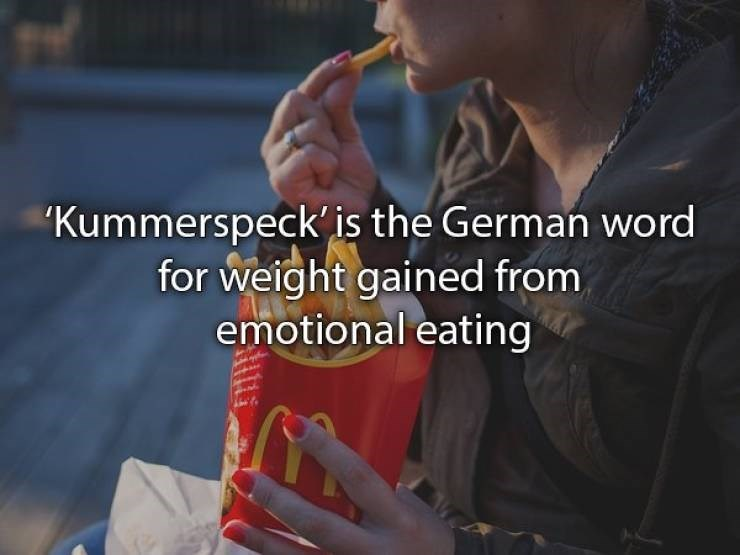 "Junk food - ""Kummerspeck'is the German word for weight gained from emotional eating"