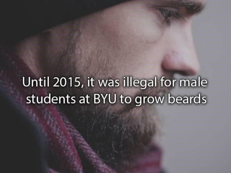 Facial hair - Until 2015, it was illegal for male students at BYU to grow beards