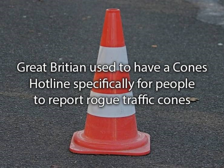 Cone - Great Britian used to have a Cones Hotline specifically for people to report rogue traffic cones