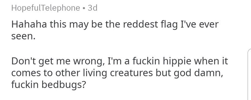 funny story bedbugs - Text - HopefulTelephone 3d Hahaha this may be the reddest flag I've seen Don't get me wrong, I'm a fuckin hippie when it comes to other living creatures but god damn, fuckin bedbugs?