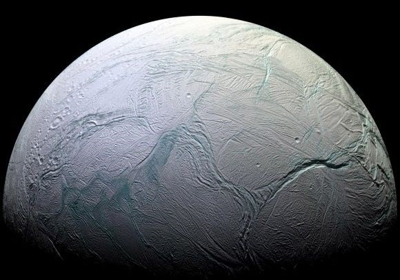 one of saturn's moons is snowing on the other moons