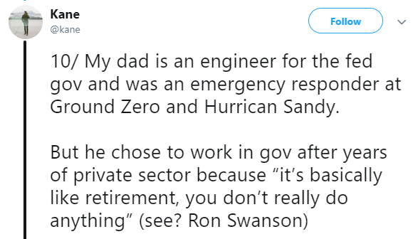 """Asian Ron Swanson - Text - Kane Follow @kane 10/ My dad is an engineer for the fed gov and was an emergency responder at Ground Zero and Hurrican Sandy. But he chose to work in gov after years of private sector because """"it's basically like retirement, you don't really do anything"""" (see? Ron Swanson)"""