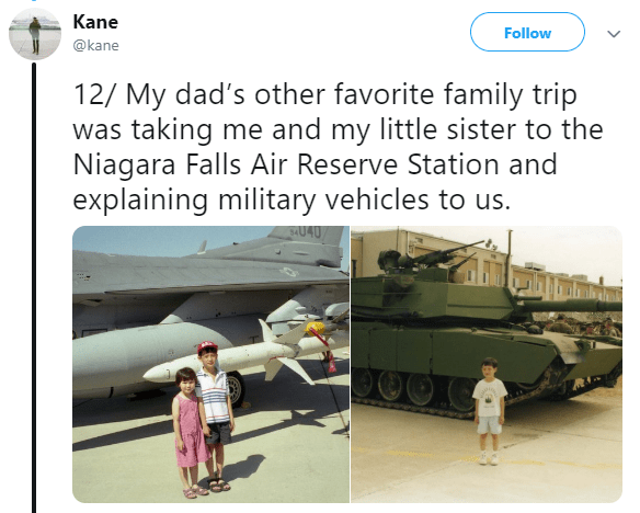 Asian Ron Swanson - Transport - Kane Follow @kane 12/ My dad's other favorite family trip was taking me and my little sister to the Niagara Falls Air Reserve Station and explaining military vehicles to us. SU40