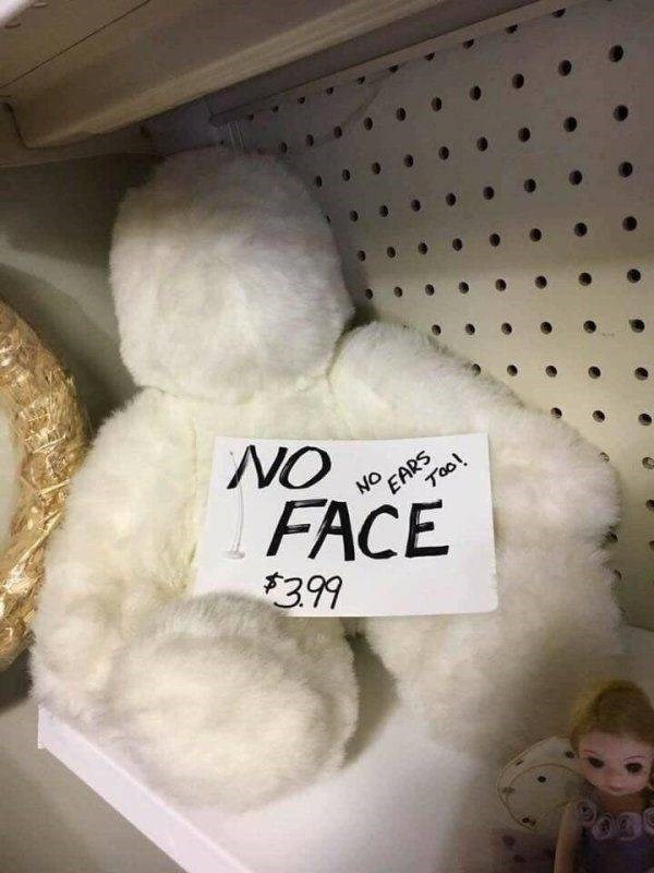thrift shop - Teddy bear - NO NO EARS Tool FACE $399