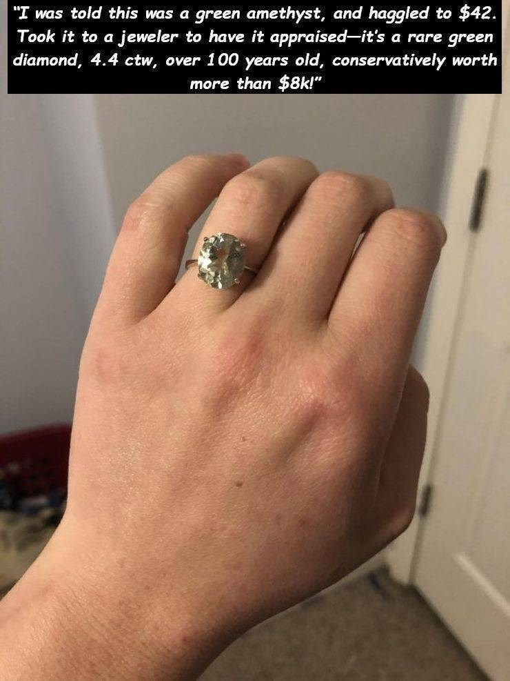 "thrift shop - Finger - to $42. jeweler to have it appraised-it's a rare green ""I was told this was a green amethyst, and haggled Took it to a diamond, 4.4 ctw over 100 years old, conservatively worth more than $8k!"""