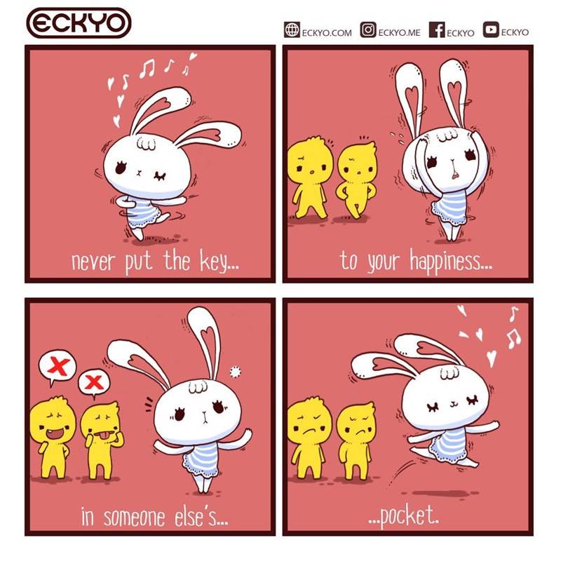Comic - Cartoon - ECKYO fECKYO ЕСKYO.COM ECKYO.ME ECKYO X to your happiness.. never put the ke. ...ocket. in someone else'S..