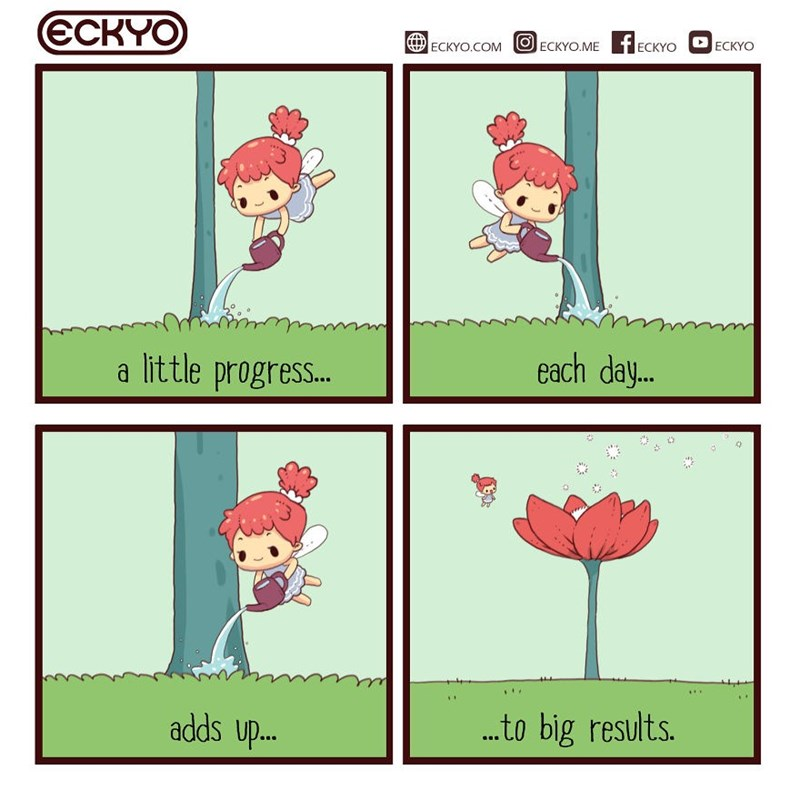Comic - Text - ECKYO fECKYO ЕСKYO.COM ECKYO.ME ECKYO a little progres... each day.. adds up.. ...to big results.