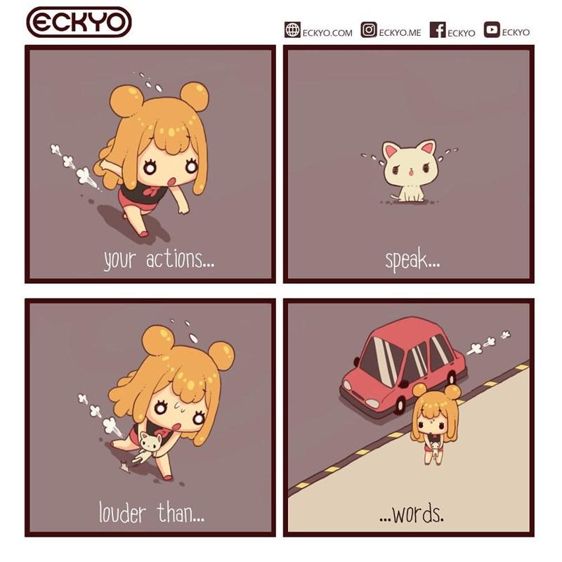 Comic - Cartoon - ЄСКУO ECKYO.COM ECKYO.ME f ECKYO ECKYO your action.. speak... louder than.. ...words.