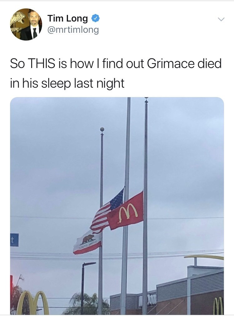 Flag - Tim Long @mrtimlong So THIS is how I find out Grimace died in his sleep last night t
