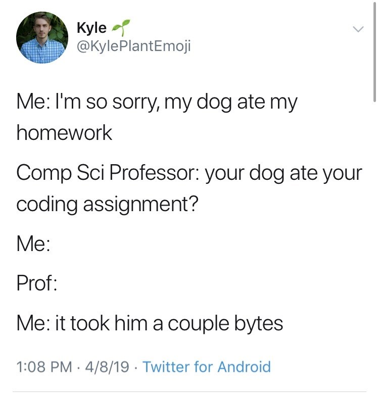 Text - Kyle @KylePlantEmoji Me: I'm so sorry, my dog ate my homework Comp Sci Professor: your dog ate your coding assignment? Mе: Prof: Me: it took him a couple bytes 1:08 PM 4/8/19 Twitter for Android