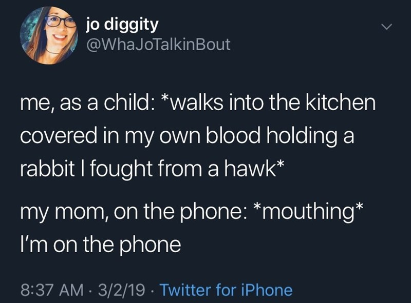 Meme - Text - jo diggity @WhaJoTalkinBout LL me, as a child: *walks into the kitchen covered in my own blood holding a rabbit I fought from a hawk* my mom, on the phone: *mouthing* I'm on the phone 8:37 AM 3/2/19 Twitter for iPhone