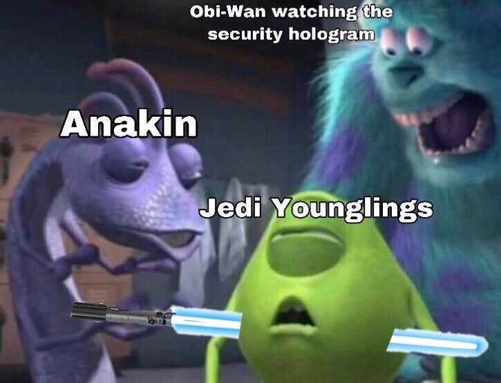 Memes - Animated cartoon - Obi-Wan watching the security hologram Anakin Jedi Younglings