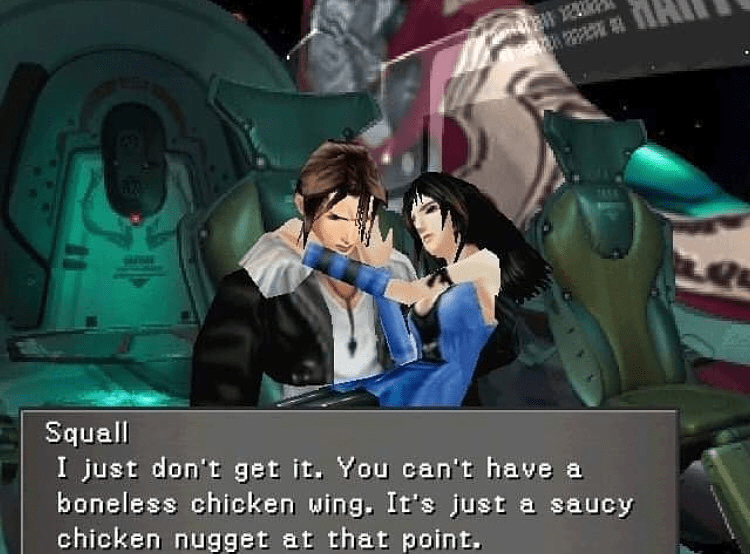 2019 meme - Anime - Squall I just don't get it. You can't have a boneless chicken wing. It's just a saucy chicken nugget at that point.