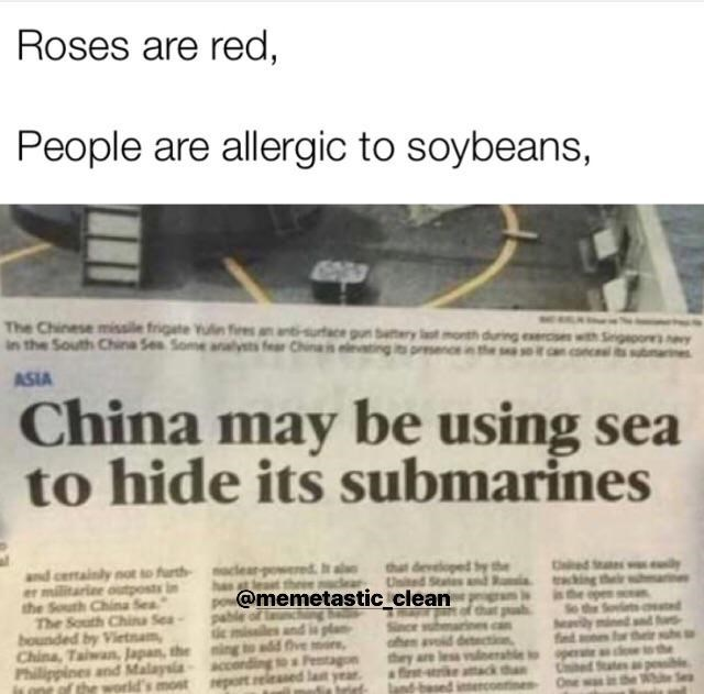 Text - Roses are red, People are allergic to soybeans, The Chinese missile frigate Yuln iesaantiacen bry in the South China Sea Some alysts fear Chineis elevai during exsi presencein the seit can ASIA China may be using sea to hide its submarines Ced S and centrainly not to furth er militariee utpostsi the South China Sea The South Chin Sea bounded by Vietnam China, Tawan, Japan the Philippines and Malaysia ant af the world's most king h @memetastic clean fOve more rable to they released lan