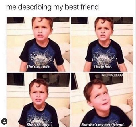 Meme - Face - me describing my best friend She's so rude. Ihate her. AFEMALEBCO Shes so ugly But she's my best friend 0