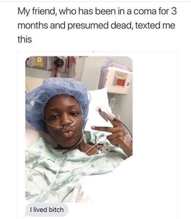 Meme - Text - My friend, who has been in a coma for 3 months and presumed dead, texted me this I lived bitch