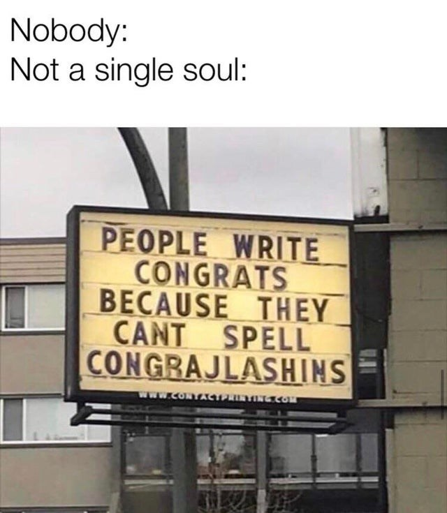 Text - Nobody: Not a single soul: PEOPLE WRITE CONGRATS BECAUSE THEY CANT SPELL CONGRAJLASHIN www.coNTACw NGCO