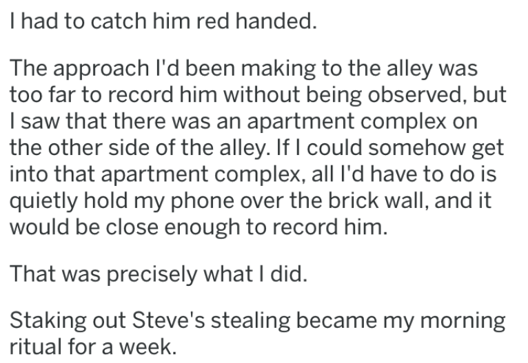 revenge story - Text - I had to catch him red handed. The approach I'd been making to the alley too far to record him without being observed, but I saw that there was an apartment complex on the other side of the alley. If I could somehow get into that apartment complex, alll'd have to do is quietly hold my phone over the brick wall, and it would be close enough to record him. That was precisely what I did. Staking out Steve's stealing became my morning ritual for a week.