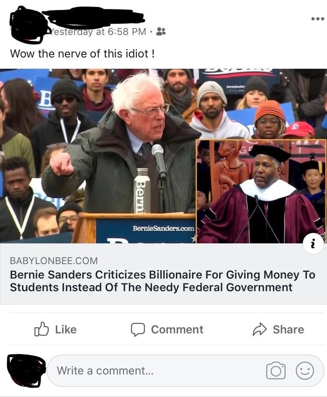 misunderstood satire - Pope - Yesterday at 6:58 PM . Wow the nerve of this idiot! BernieSanders.com BABYLONBEE.COM Bernie Sanders Criticizes Billionaire For Giving Money To Students Instead Of The Needy Federal Government Like Share Comment Write a comment... Bern