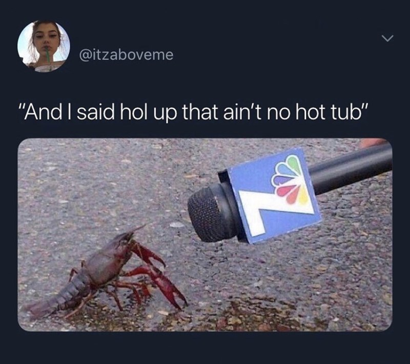 "funny meme - Crayfish - @itzaboveme ""And I said hol up that ain't no hot tub"""