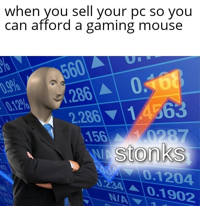 Meme - Text - when you sell your pc so you can afford a gaming mouse 560 .286 0168 1.4563 D.9% 0.12% 2.286 .156 0287 WAStonks Ad 0.1204 0.234 0.1902 02 213 NA