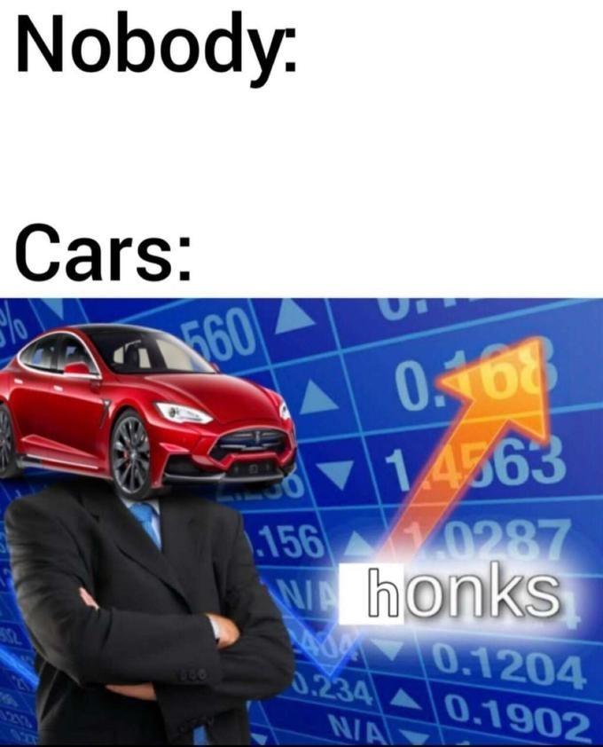 Meme - Land vehicle - Nobody Cars: 560 0168 14563 156 0287 WA honks dY0.1204 0.234 0.1902 N/A