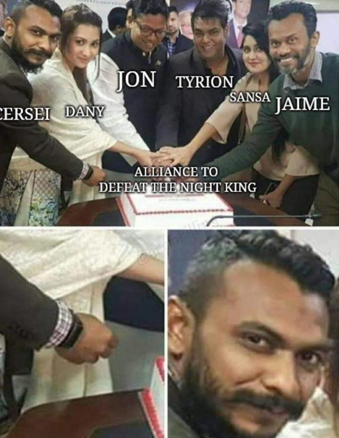 Meme - Facial expression - JON TYRION SANSA TAIME CERSEI DANY ALLIANCE TO DEFEAT THE NIGHT KING