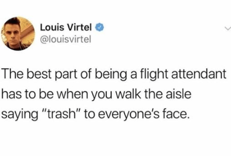 """Meme - Text - Louis Virtel @louisvirtel The best part of being a flight attendant has to be when you walk the aisle saying """"trash"""" to everyone's face."""