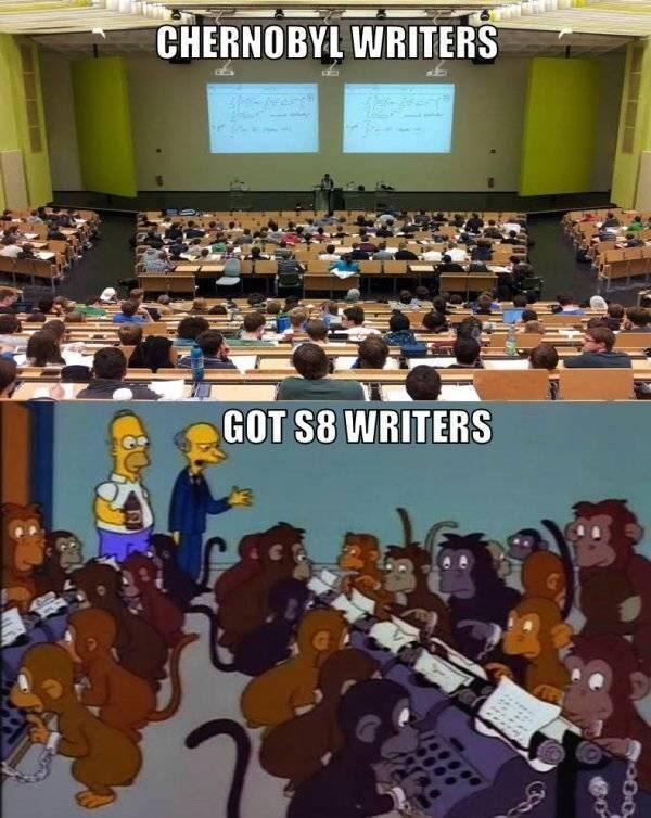 chernobyl meme - Audience - CHERNOBYL WRITERS GOT S8 WRITERS