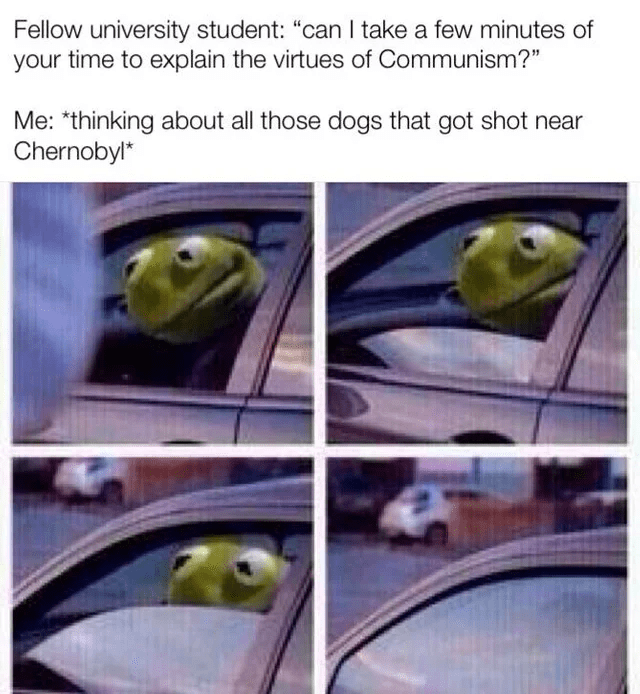 "chernobyl meme - Adaptation - Fellow university student: ""can I take a few minutes of your time to explain the virtues of Communism?"" Me: *thinking about all those dogs that got shot near Chernobyl*"