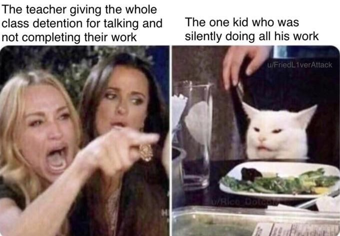 Meme - Cat - The teacher giving the whole class detention for talking and not completing their work The one kid who was silently doing all his work u/FriedL1verAttack Rico Dotan