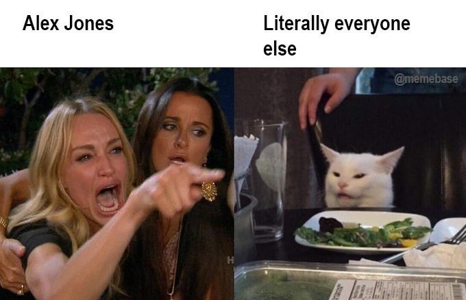 Meme - Cat - Literally everyone Alex Jones else @memebase