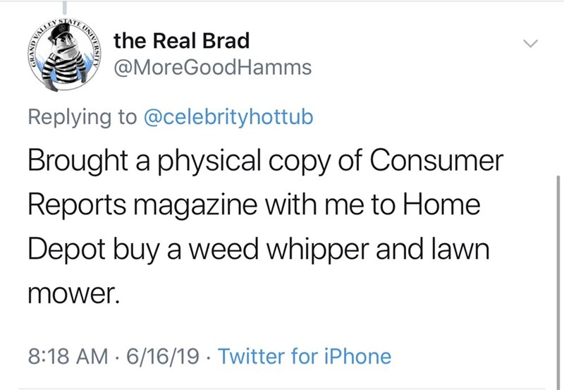 shameless dad - Text - STATE the Real Brad @MoreGoodHamms Replying to @celebrityhottub Brought a physical copy of Consumer Reports magazine with me to Home Depot buy a weed whipper and lawn mower. 8:18 AM 6/16/19 Twitter for iPhone UNIV RAND