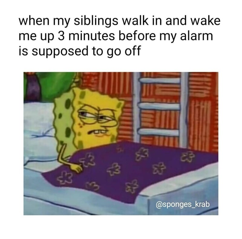 Meme - Text - when my siblings walk in and wake me up 3 minutes before my alarm is supposed to go off @sponges_krab