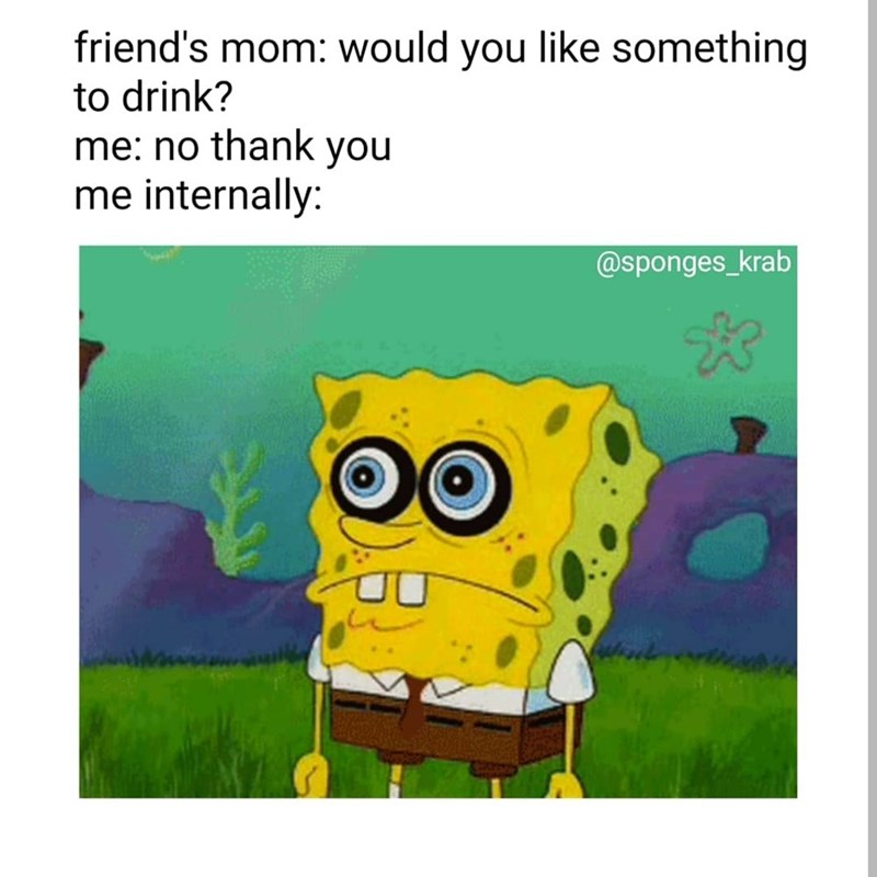 Meme - Text - friend's mom: would you like something to drink? me: no thank you me internally: @sponges_krab OO
