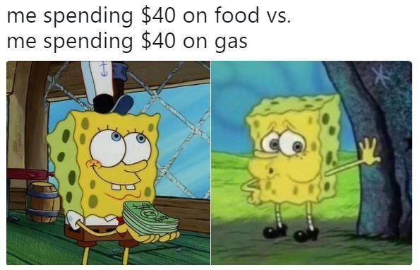 Meme - Cartoon - me spending $40 on food vs. me spending $40 on gas