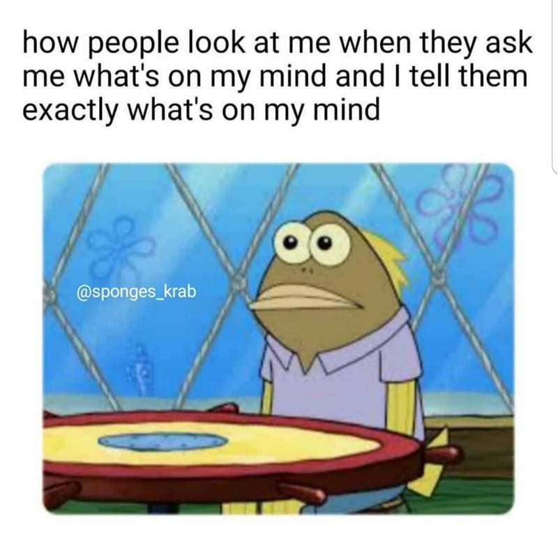 Meme - Cartoon - how people look at me when they ask me what's on my mind and I tell them exactly what's on my mind @sponges_krab