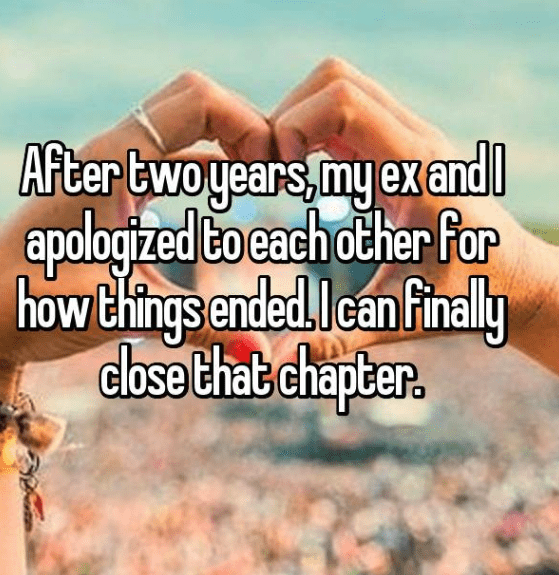 ex apologizing - Text - After twoyears,my exand apologized to each other For how Chings ended.Ican finally close thab chapter.