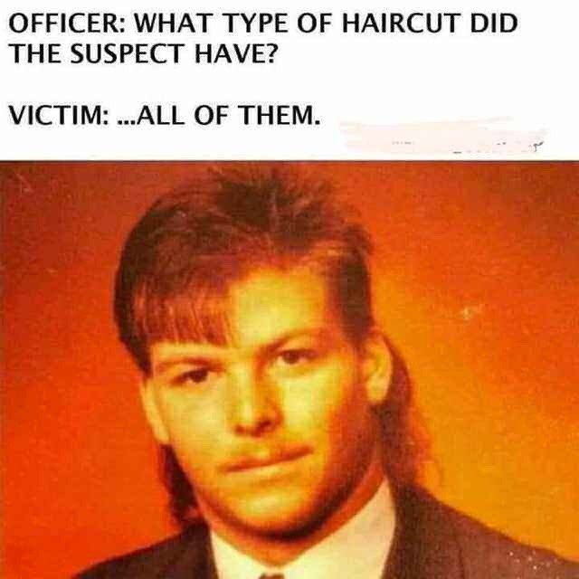 Forehead - OFFICER: WHAT TYPE OF HAIRCUT DID THE SUSPECT HAVE? VICTIM: ..ALL OF THEM